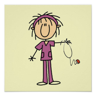 White Female Stick Figure Nurse T-shirts and Gifts Poster
