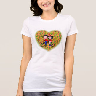 White Female T-shirt (with kids riding bicycle)