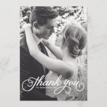 White Feminine Script Photo Wedding Thank You