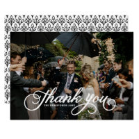 White Feminine Script Photo Wedding Thank You Card