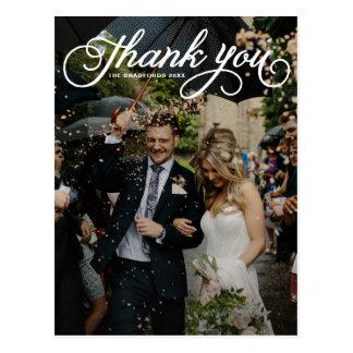 White Feminine Script Photo Wedding Thank You Postcard