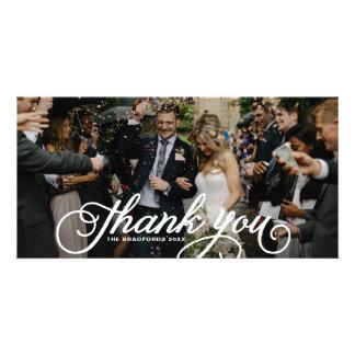 White Feminine Script Wedding Thank You Card