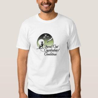 White Feral cat Caretakers Logo No Border T Shirts