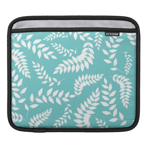 White Ferns Foliage on Teal Pattern Sleeves For iPads