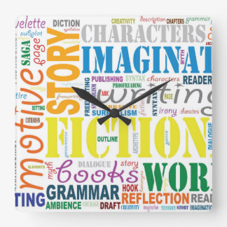White Fiction Writer's Word Art Clock