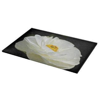 White Field Flower Glass Cutting Board