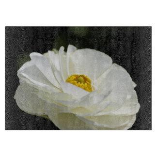 White Field Flower Small Glass Cutting Board