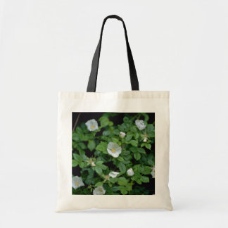 white Field rose flowers Budget Tote Bag