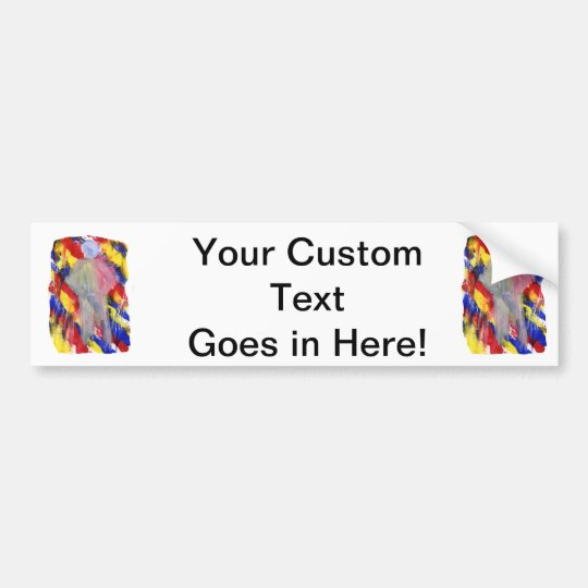 White Figure in front of red yellow blue smears Bumper Sticker