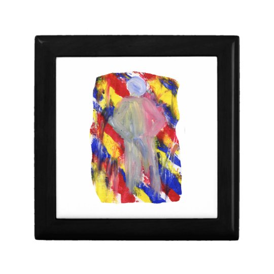 White Figure in front of red yellow blue smears Keepsake Box
