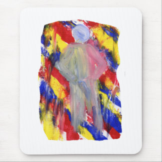 White Figure in front of red yellow blue smears Mousepads