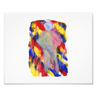 White Figure in front of red yellow blue smears Photo Art