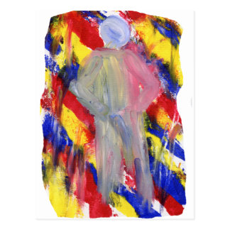 White Figure in front of red yellow blue smears Post Cards