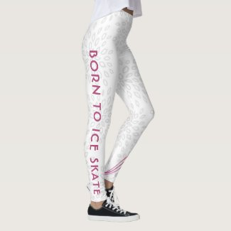 White figure skating leggings - Born to ice skate