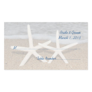 White Finger Starfish Wedding Place Cards Double-Sided Standard Business Cards (Pack Of 100)