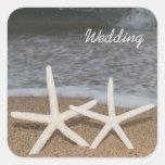 White Finger Starfish Wedding Stickers