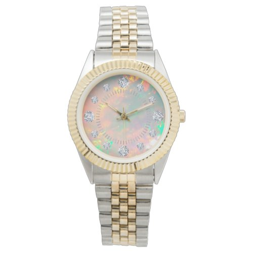 White Fire Opal Diamond Solitaire Dial Steel Gold Watch