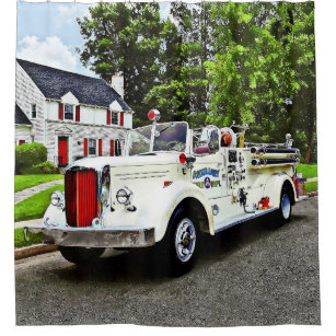 White Fire Truck Shower Curtain