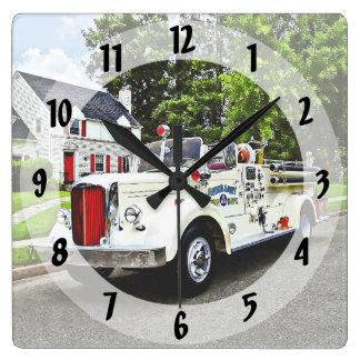 White Fire Truck Square Wall Clock