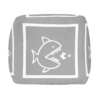 White Fish on grey: personalize with name Cube Pouf