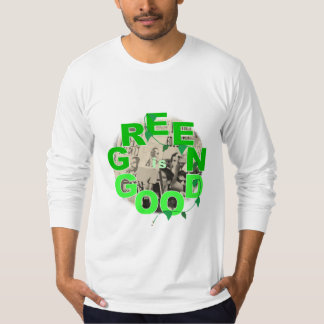 White, fitted, long-sleeved, Green is Good (Occupy T-Shirt