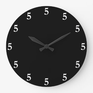White Five o'Clock Somewhere on Black Large Clock