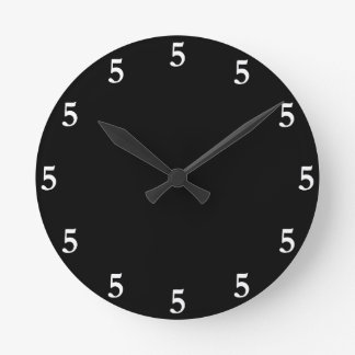 White Five o'Clock Somewhere on Black Round Clock