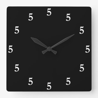 White Five o'Clock Somewhere on Black Square Wall Clock