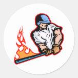 White Flaming Baseball Batter Classic Round Sticker