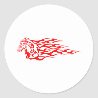 White Flaming Mustang Horse Classic Round Sticker