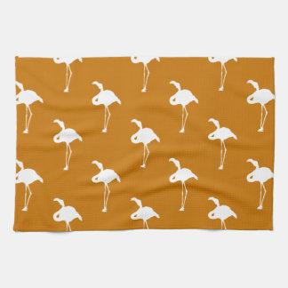 White Flamingo on Burnt Orange Hand Towels