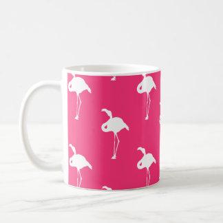 White Flamingo on Neon Hot Pink Mugs