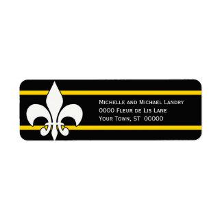 White Fleur de Lis on Black with Gold Stripes Return Address Label