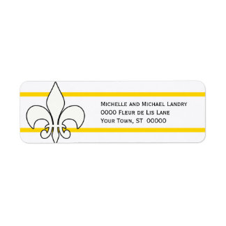White Fleur de Lis with Gold Stripes Label