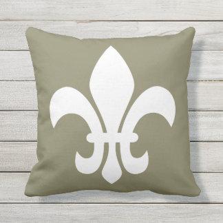 White Fleur de Lys Your Choice Background Color Outdoor Pillow