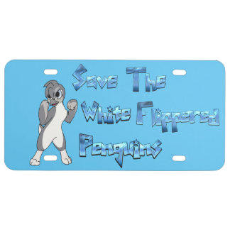 White Flippered Penguin License Plate