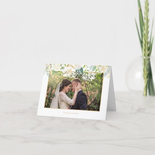 White floral and gold photo thank you note