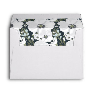 White Floral Anemone lined Wedding Envelope