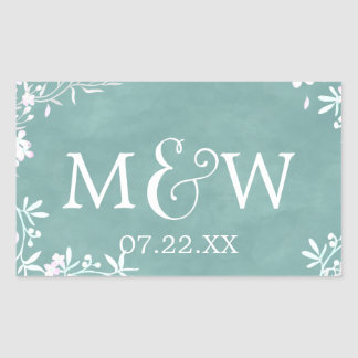 White Floral Any Color Watercolor Wedding Monogram Rectangular Sticker