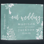 """White Floral Any Color Wedding Photo Album Binder<br><div class=""""desc"""">White Floral Border &amp; Color Editable Watercolor Background Wedding photo album. With trendy brush script style font! ~ Easily change the watercolor background color,  just click &quot;Customize Further&quot; Scroll down through the text and images until you see the background color area,  and select your custom color.</div>"""