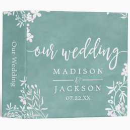 White Floral Any Color Wedding Photo Album Binder