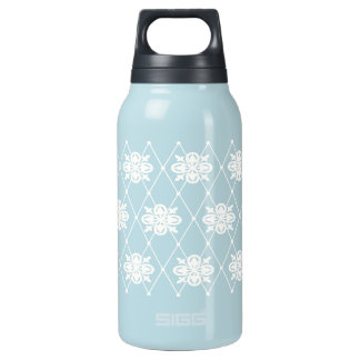 White Floral Argyle Insulated Water Bottle