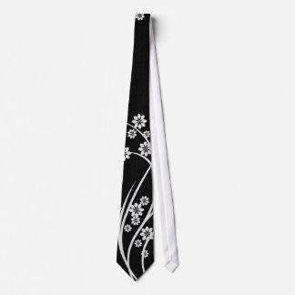 White Floral Black Silky Mens' Neck Tie