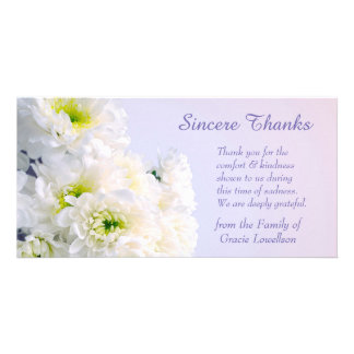 White Floral Bouquet Sympathy Thank You Card