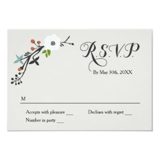 White Floral Branch Wreath | RSVP Reply Card
