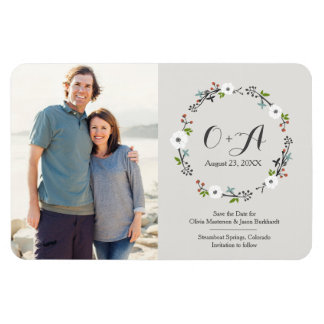 White Floral Branch Wreath   Save the Date Rectangular Photo Magnet