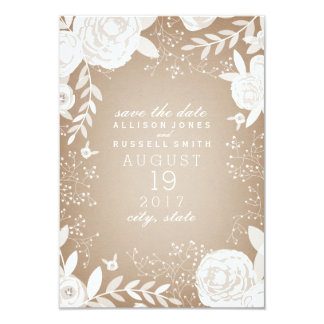 White Floral Cardstock Inspired Save The Date Card