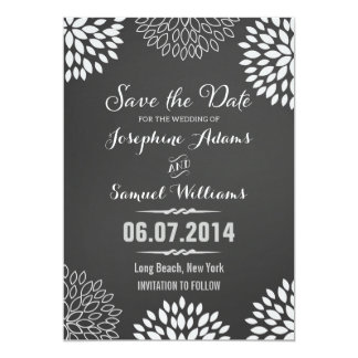 White Floral Chalkboard Save The Date 5x7 Paper Invitation Card