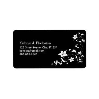 White Floral Corner Border Address Label