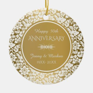 White Floral Damask- 50th Wedding Anniversary